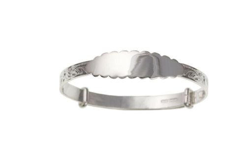 Silver Identity Baby Bangle 0 - 18 months Fancy Design 925 Hallmark
